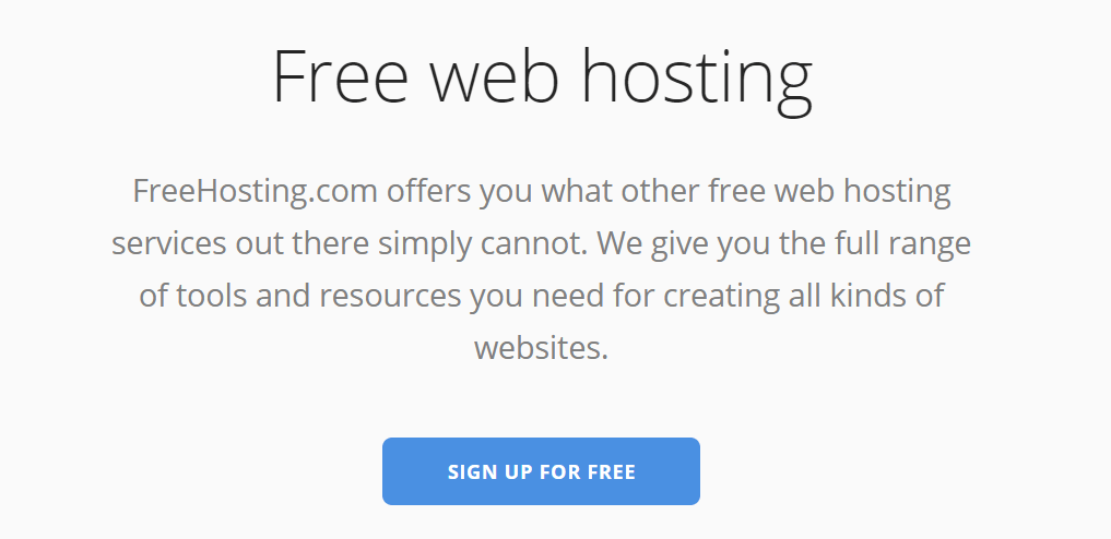 freehosting.com homepage